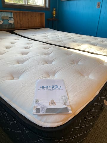"""The Blue Room has a couple new Hamuq mattresses. It's one of the online 'mattress-in-a-box"""" companies, but what makes these unique is they are hybrid. There are steel coils, memory foam, and a pillow top. Manufactured in Canada using Canadian steel!"""