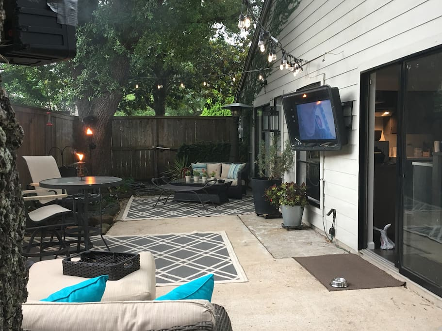 Enjoy popcorn movie night on the out side sofa