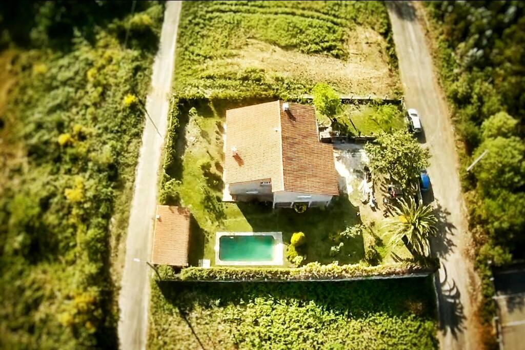 vista aérea de la casa