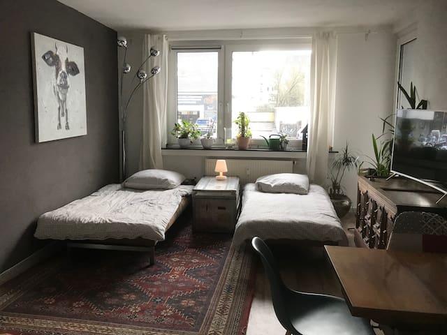 Wohnzimmer mit ausgeklappten Schlafsofas