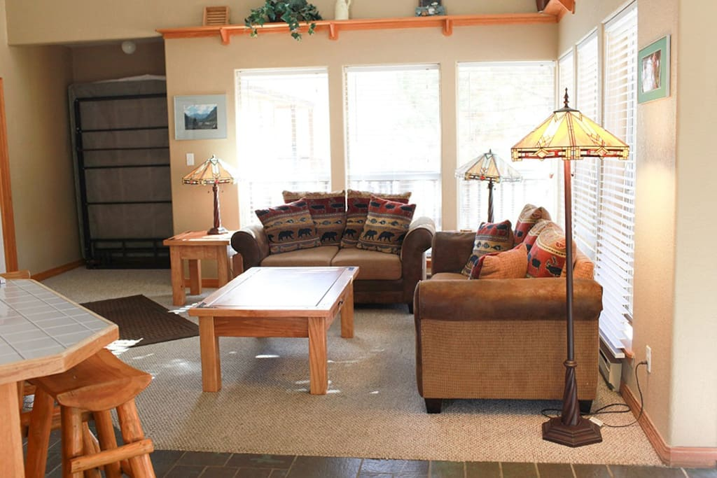 Living room has a sofa sleeper, Murphy bed, gas fireplace, large windows and high ceilings