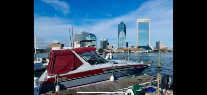 Boat on St. Johns River, downtown Jacksonville