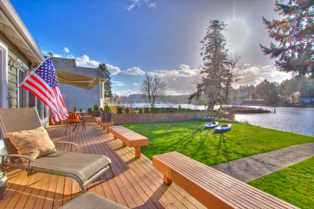 View of Gig Harbor bay from the chaise lounge chairs and BBQ area.