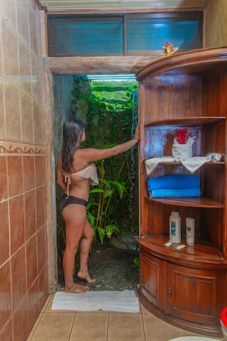 Beautiful outdoor shower inside the villa