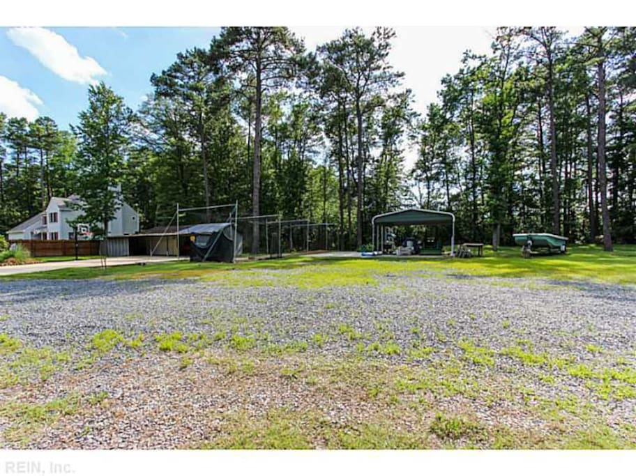 Ample parking and outdoor space on 2 acres.