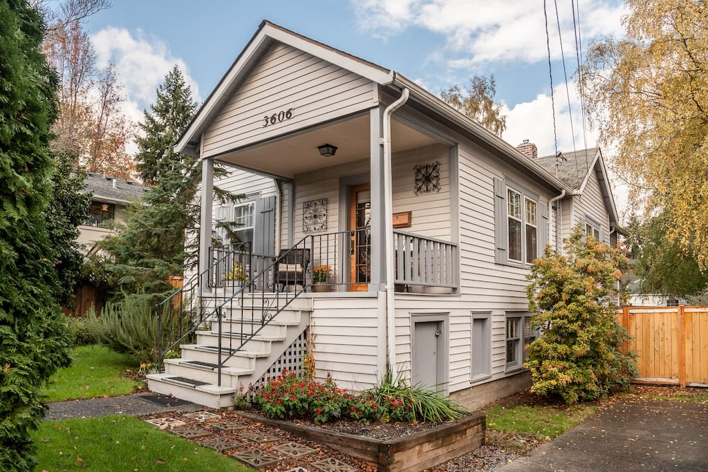 Classic Seattle home with steps up to the covered porch