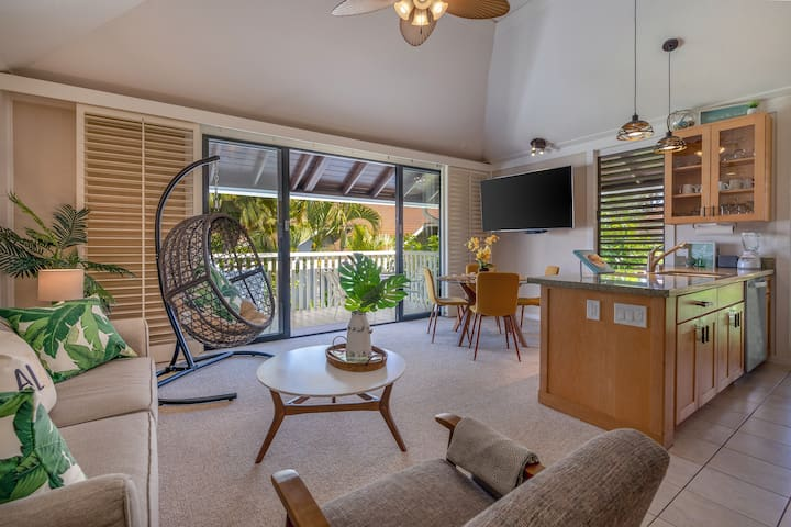 Dine with a view in our new 4 person dining set. Cook like a local using our Hawaiian cookbooks. Enjoy reading one of our many books about Kauai. Plenty of light including dimmers throughout the open floor plan. A highchair provided for families.