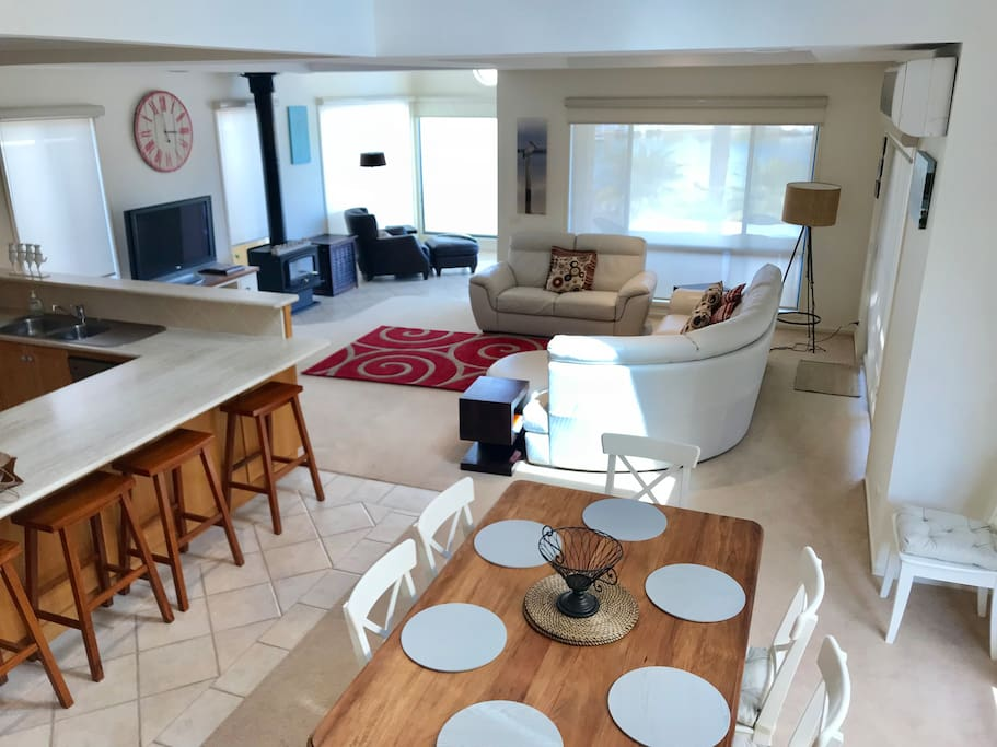 Open plan living with water views