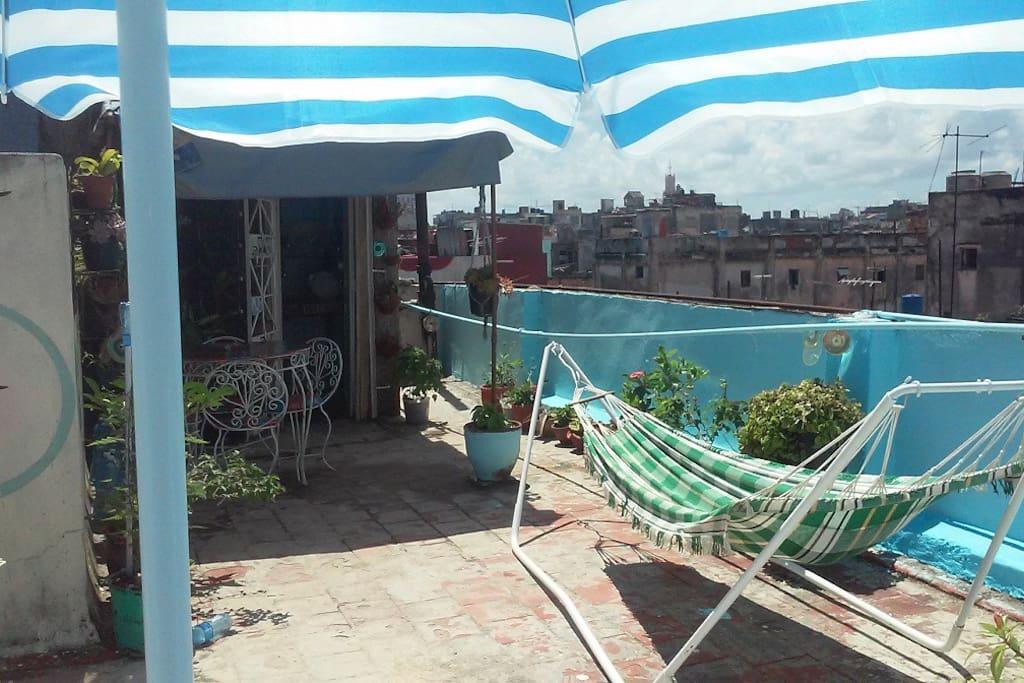 Vista de la terraza con hamaca para esas tardes que desee descansar con tranquilidad