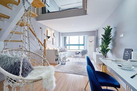 sray [premium ash] in der nähe von bahnhof/u-bahn/tianyi-platz/trommelgebäude/tianyi-bar/loft dreibett-projektion eine schlafzimmer-küche/partyfotografie kleine tischtour