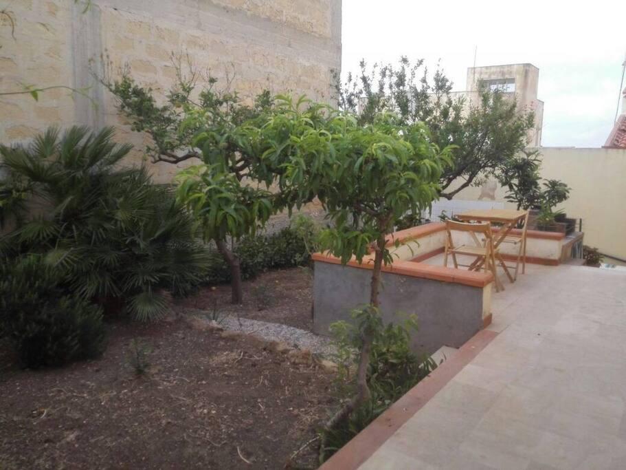 Veranda interna privata con giardino