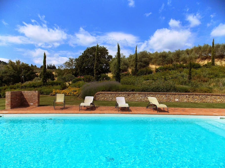 Swimming pool surrounded by sunbeds, beach chairs and umbrellas