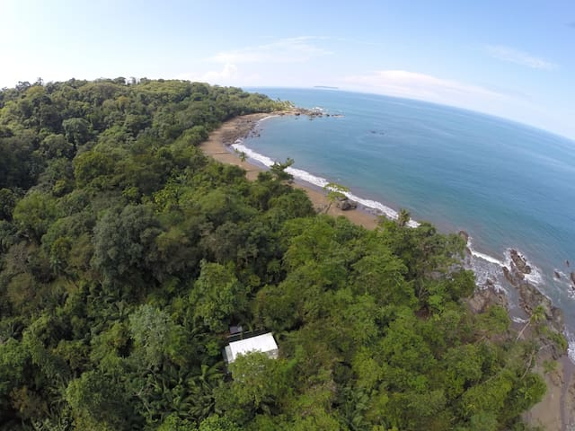 Aerial view of Casa Claro del Bosque location, far end Caño Island.