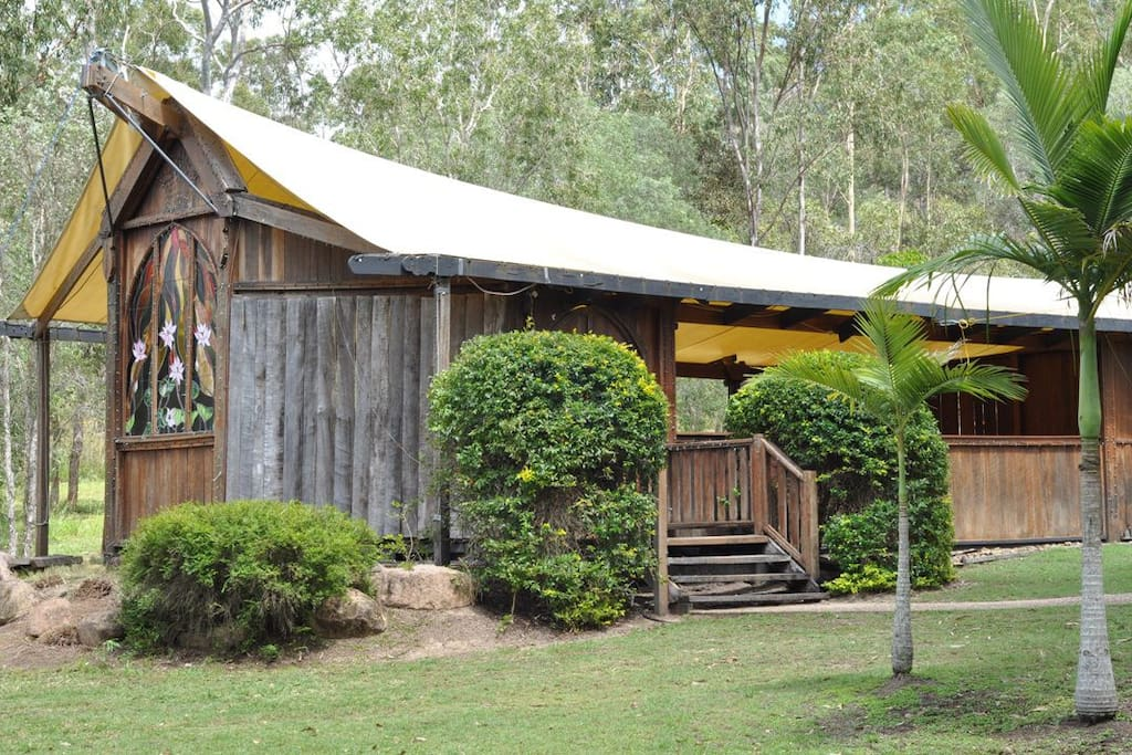 Our tourist village of slab huts includes this quirky bush chapel to explore