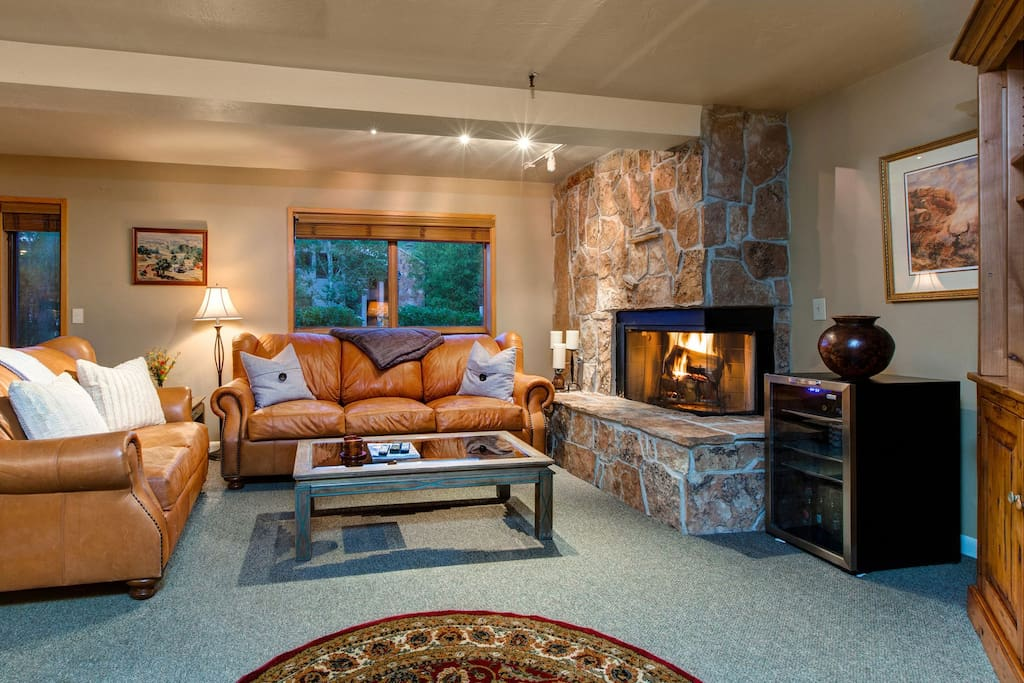 stay warm with this stone fireplace