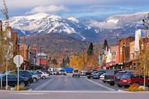 Downtown Whitefish, Montana  -  Whitefish Mountain Ski Resort in the background.