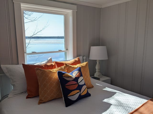 Lakefront bedroom #2 with a queen bed
