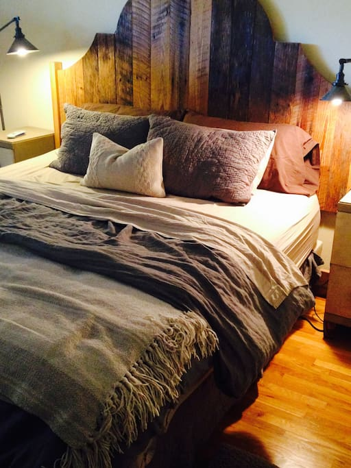New king Tempurpedic bed in main bedroom.