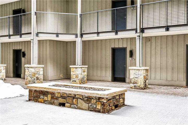 New fire pit and railings in courtyard