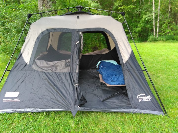 Cabin Tent Camping all set up!