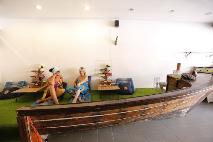 Lobby; Long tail boat