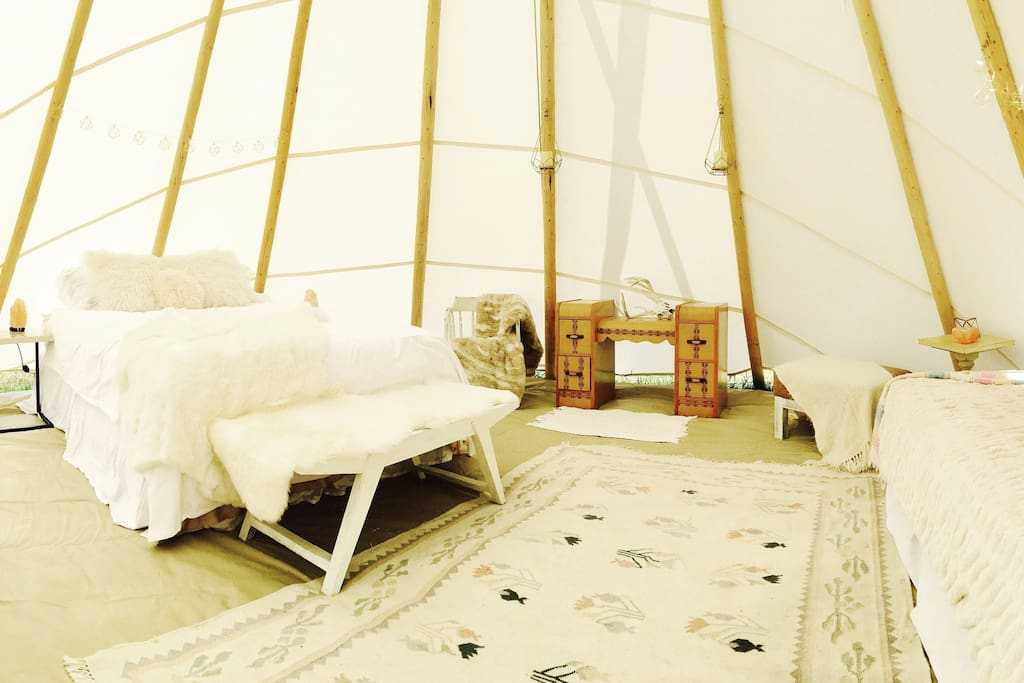 Our comfy queen bed in the tipi we sleep 3, however we can provide a cot because there is enough room for 4!