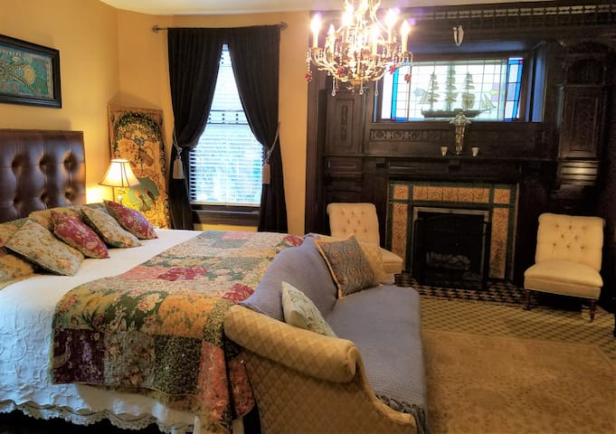 The Flagship of the Vandiver Mansion:  Rodgers Room - Amazing fireplace, soaking tub, walk-in shower, porch...!
