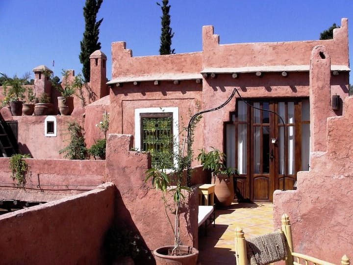 Chambre Paille double en terrasse - Ouzoud hôtel