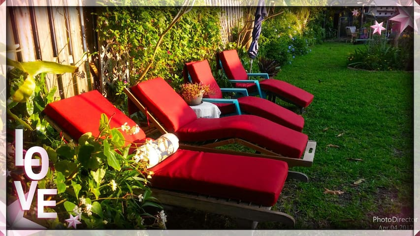 """4 Teak Lounge Chairs  2 Adarondeck. You can RELAX NOW It's your time """"ME TIME"""""""