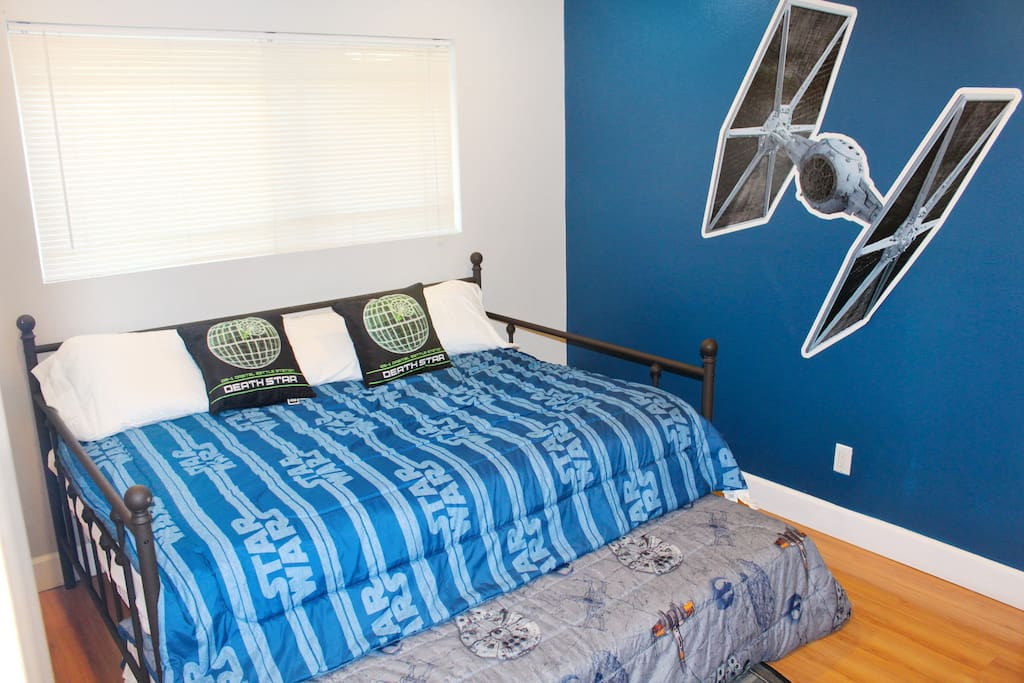 Bedroom 2: Double with Twin Trundle underneath.  Starwars themed!