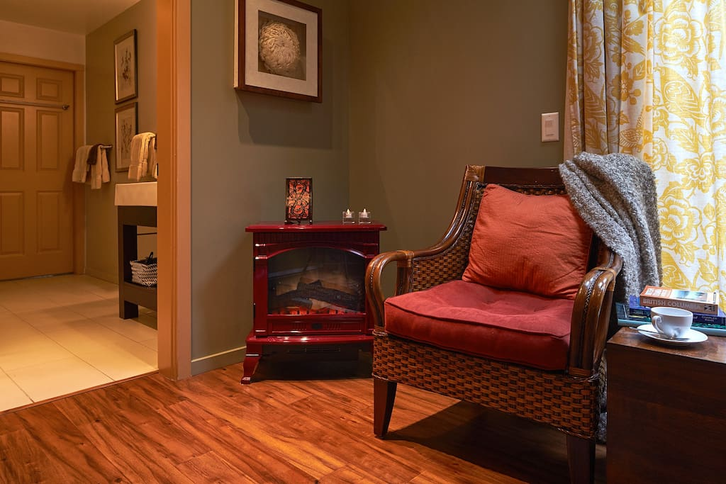 Fireplace and reading nook