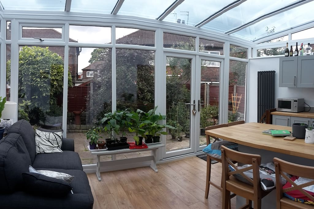 Our bright conservatory/kitchen extension.