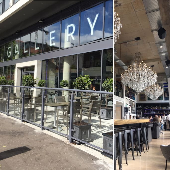The Gallery's ground floor restaurant bar inside & out