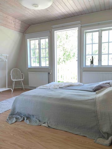 Bedroom nr 2. The beds are two separate ones that  can be placed on each side of the room.