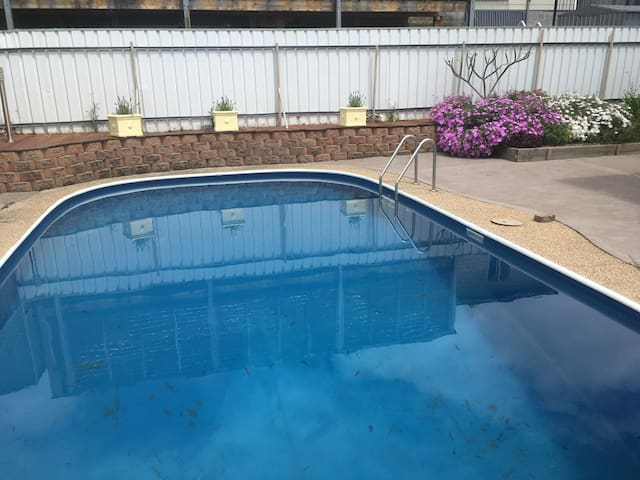 Enjoy the lovely salt water pool on hot days.