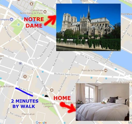 Your home is at 2 minutes from Notre Dame de Paris and others monuments