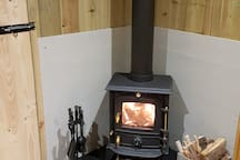 Nice and cosy in hut thanks to woodburner