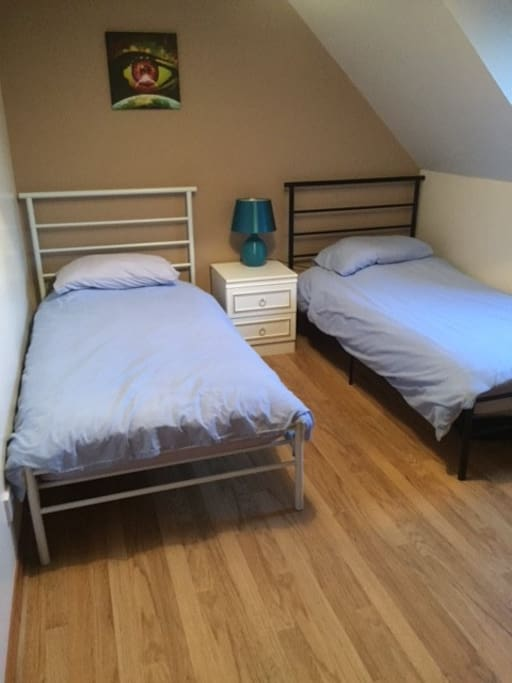 The second bed has two single beds.