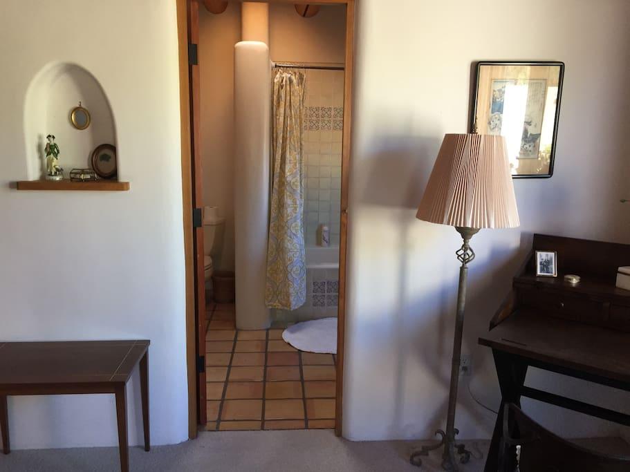 secretary desk and view to the bathroom