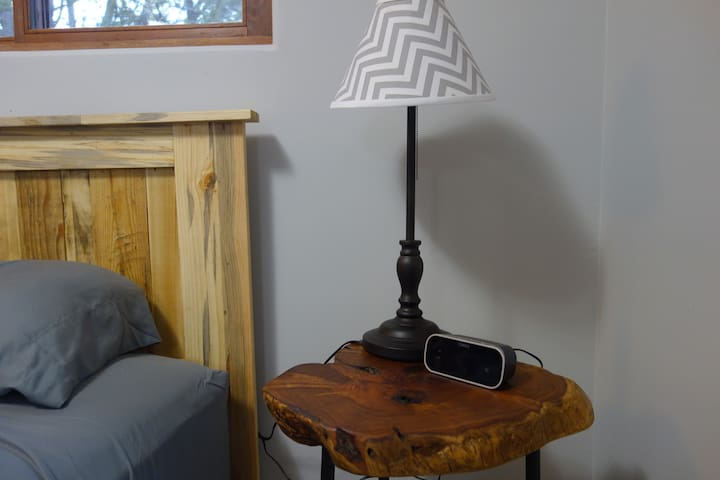 Custom nightstand with lamp and alarm clock