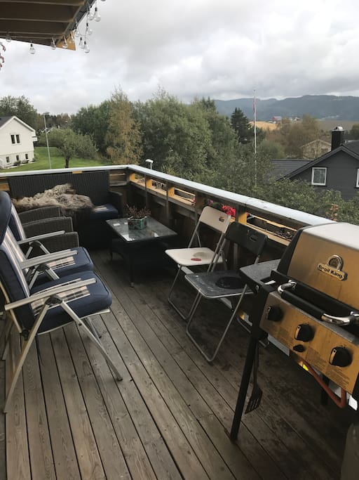 great view from the terrace with a gas grill