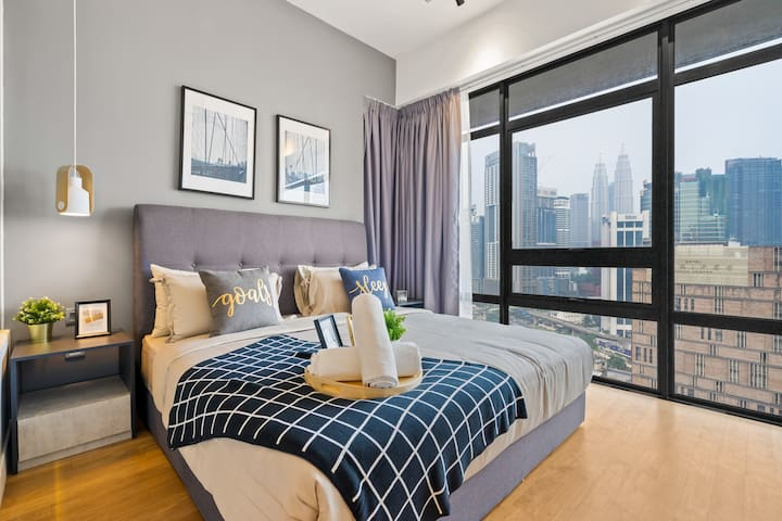 Comfortable king size bed and generous wardrobe space