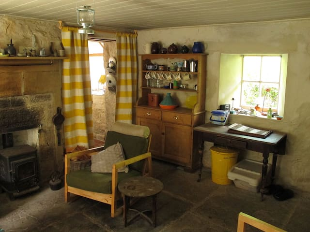 Cosy main room with traditional kitchen dresser and Stove