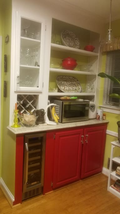 Its a red kitchen.