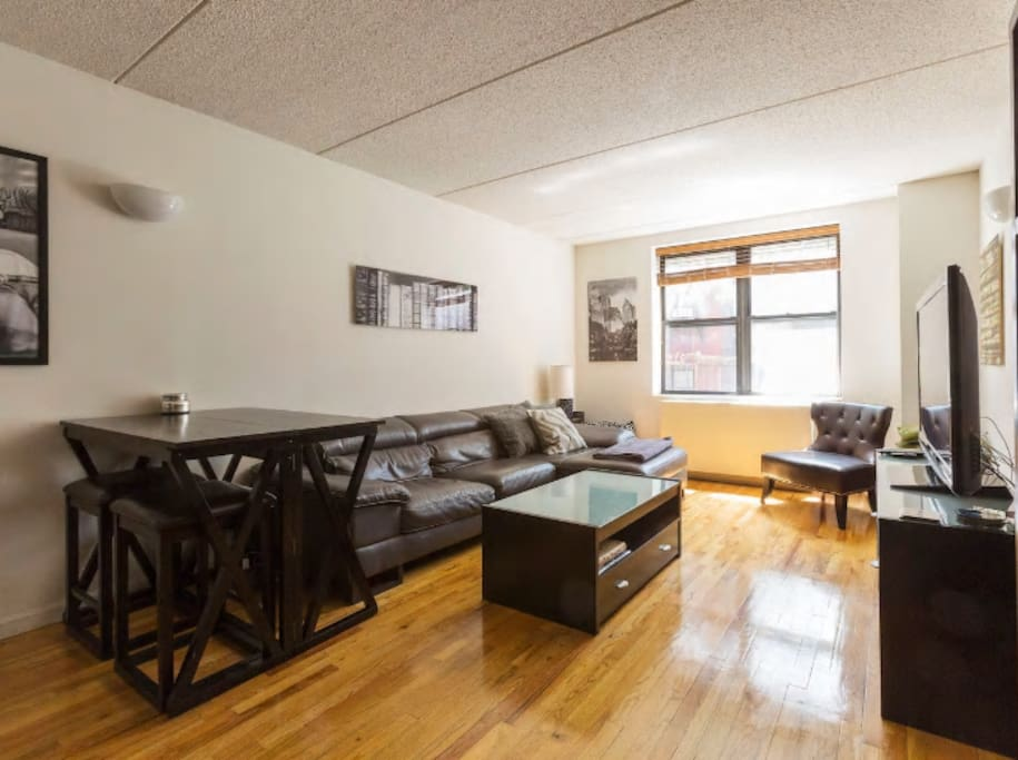 spacious living room, with high top dining table and chairs. apartment faces the back of the building, so NO street noise!