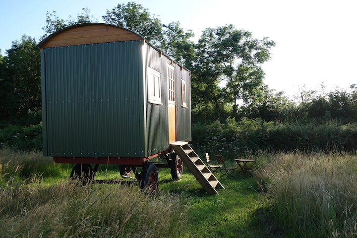 Metal hand crafted shepherds hut in the Wye Valley