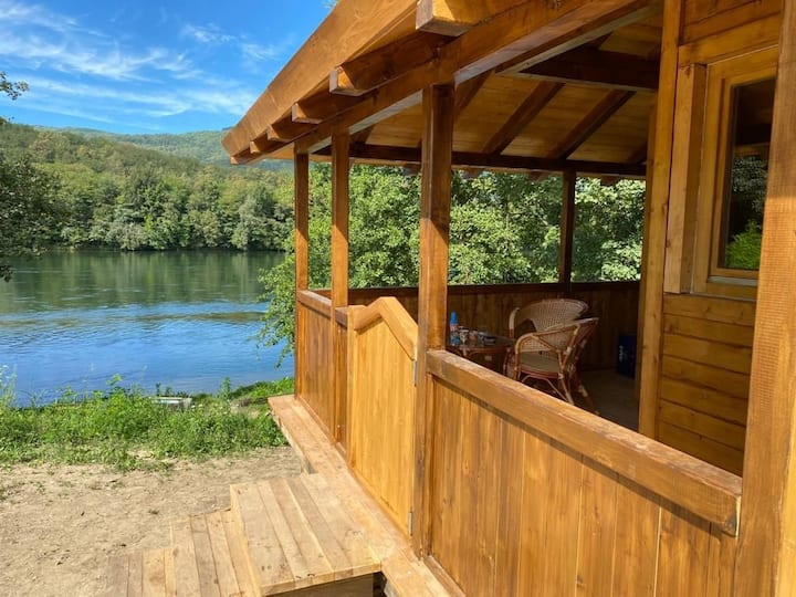 Drina river side wood traditional-modern house