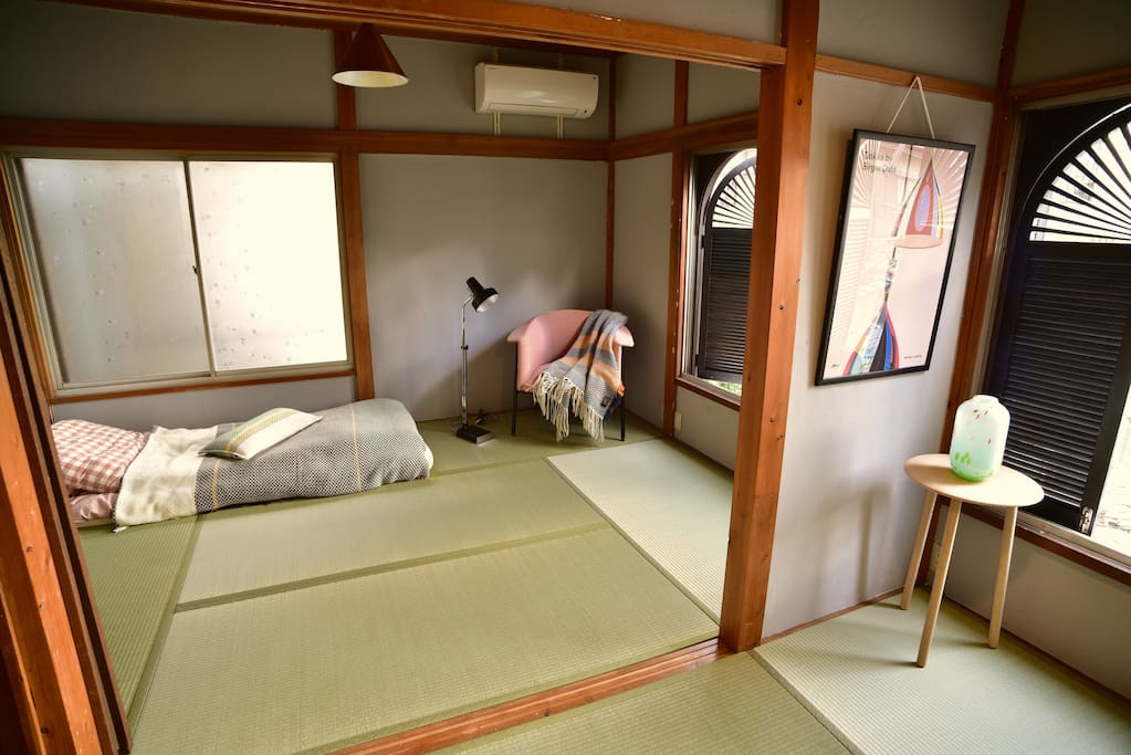 The windows Bedroom 2 overlooks the Udagawa walking path (a covered river).