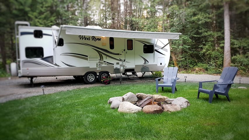 Large beautiful RV on private forested site.