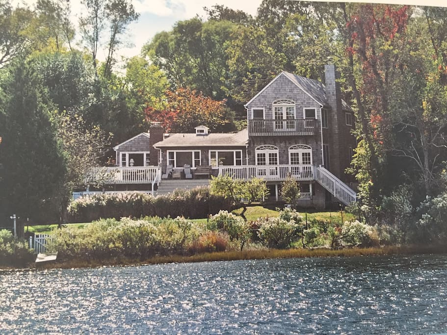 Home is set on a Natural Reserve Pond that gives out to the Bay Beaches and the Peconic